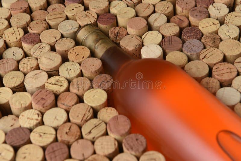 Primo piano di una bottiglia del vino bianco dello Zinfandel circondato dai sugheri usati fotografie stock
