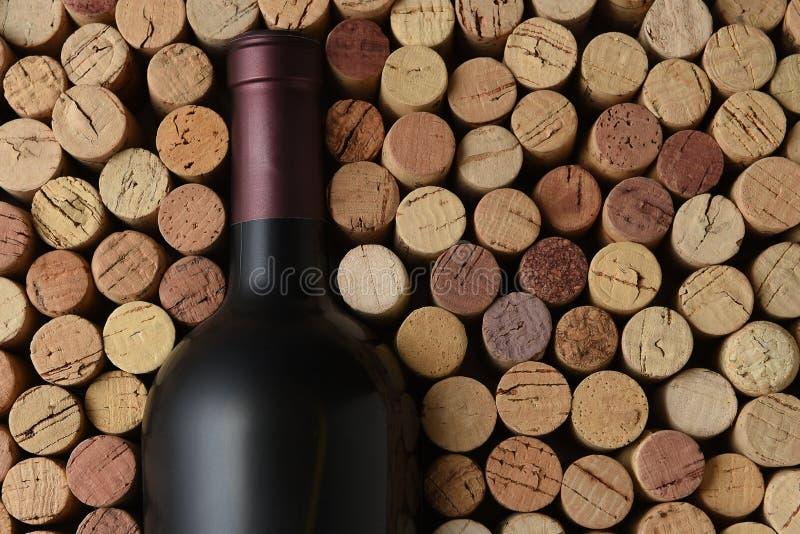 Primo piano di una bottiglia del vino di Cabernet Sauvignon circondata dai sugheri usati fotografie stock libere da diritti