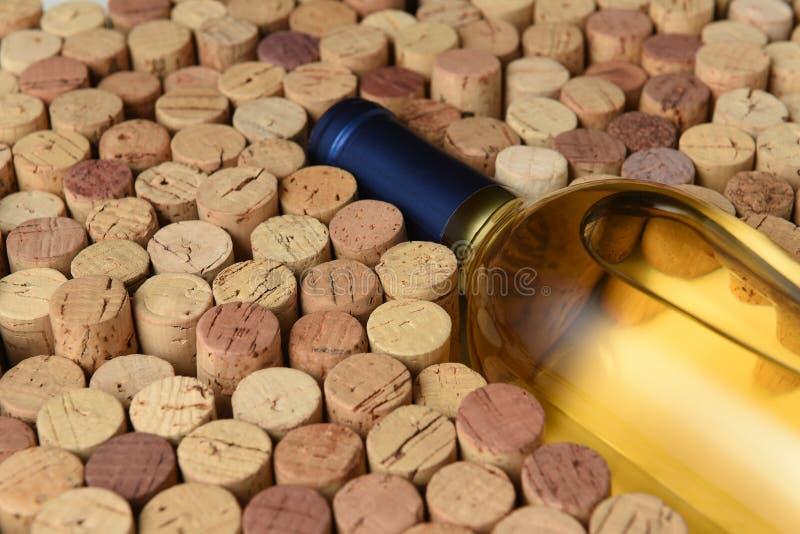 Primo piano di una bottiglia del vino di Sauvignon Blanc circondata dai sugheri usati immagini stock