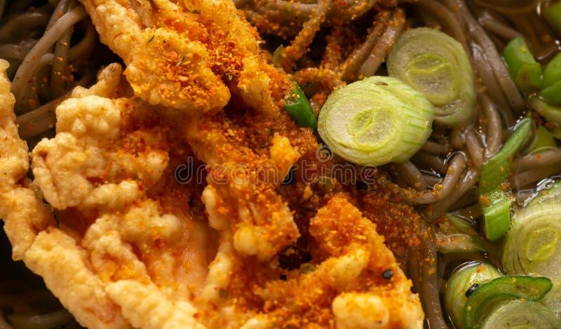 Primo piano di una minestra di pasta giapponese con il soba, la tempura, le cipolle di inverno ed i fagiolini, spruzzati con pepe fotografie stock libere da diritti