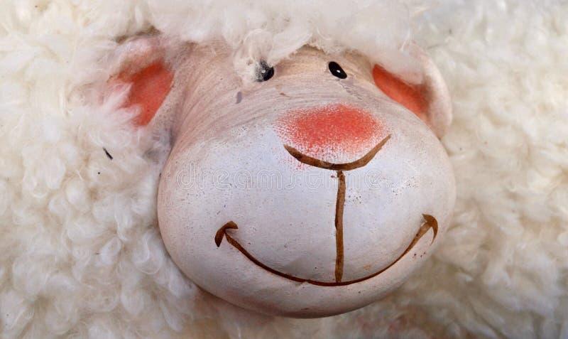 Primo piano di una pecora sorridente del tessuto immagine stock