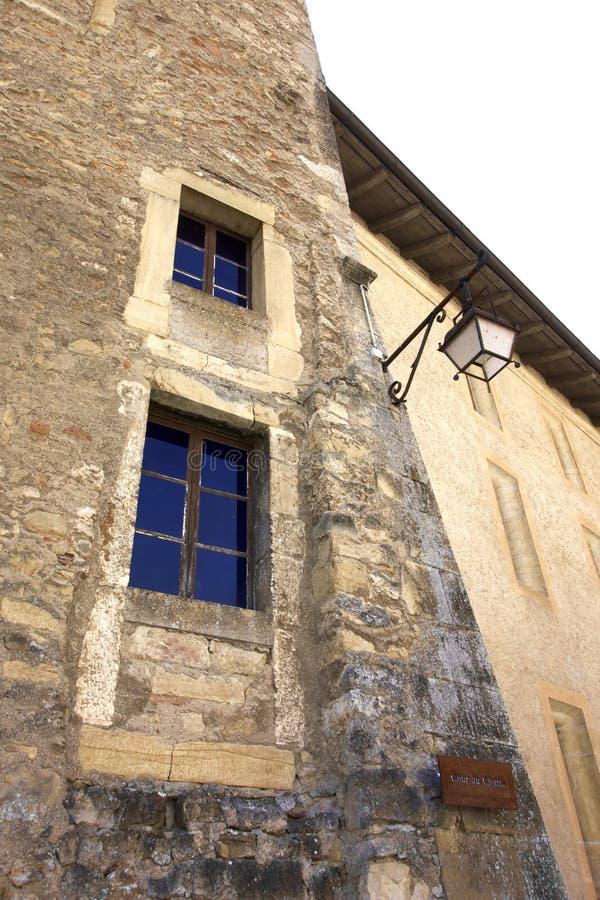 Primo piano di vecchia torre svizzera fotografie stock