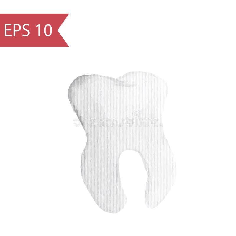 Primo piano di vettore di un dente Illustrazione semplice dell'acquerello del dente con la radice isolata su un fondo bianco illustrazione vettoriale