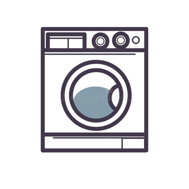 Primo piano di vista frontale della lavatrice isolato su bianco illustrazione vettoriale