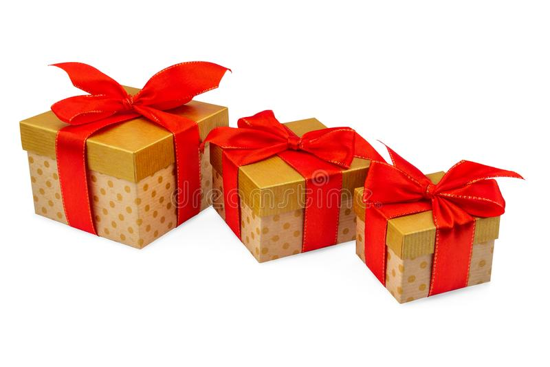 Primo piano Front View 3 della scatola di cartone dell'oro immagini stock