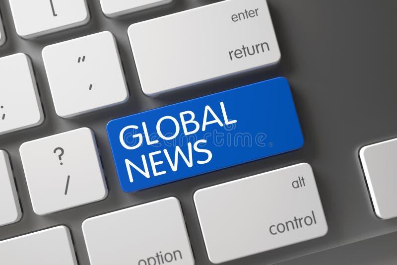 Primo piano globale di notizie della tastiera 3d fotografie stock libere da diritti