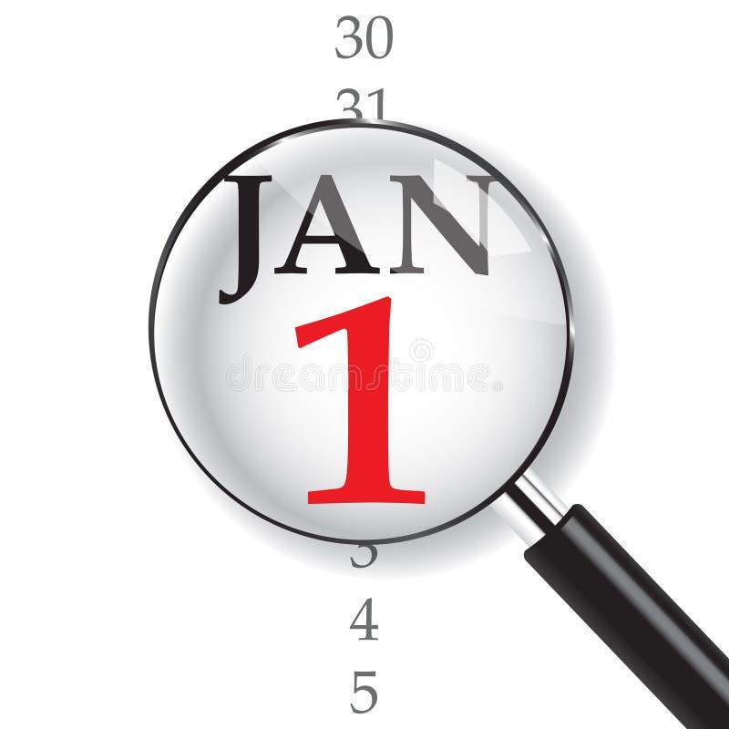 Primo piano il 1° gennaio illustrazione di stock