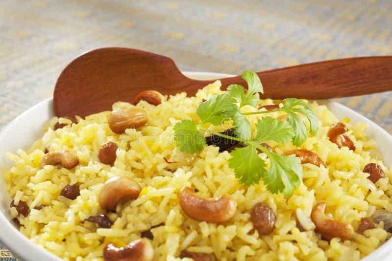 Primo piano indiano di Pilau del riso basmati immagine stock
