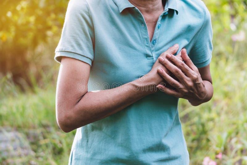 Primo piano l'attacco di cuore della donna quando duro lavoro questo concetto è tutto il giorno per la sanità sul fondo della nat fotografia stock libera da diritti