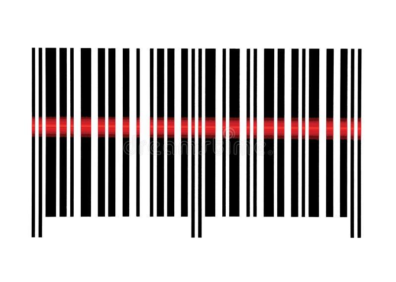 Primo piano a macroistruzione di scansione del codice a barre vuoto isolato fotografia stock libera da diritti