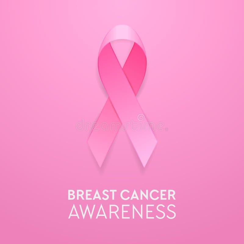 Primo piano rosa realistico del nastro su fondo rosa, simbolo di consapevolezza del cancro al seno Modello di progettazione per l royalty illustrazione gratis
