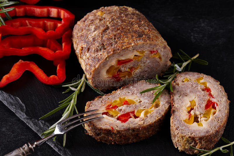 Primo piano tritato di Meat Loaf fotografia stock