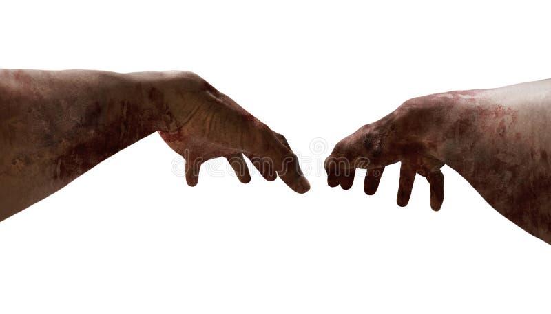 Primo punto di vista della persona delle mani dello zombie fotografia stock libera da diritti
