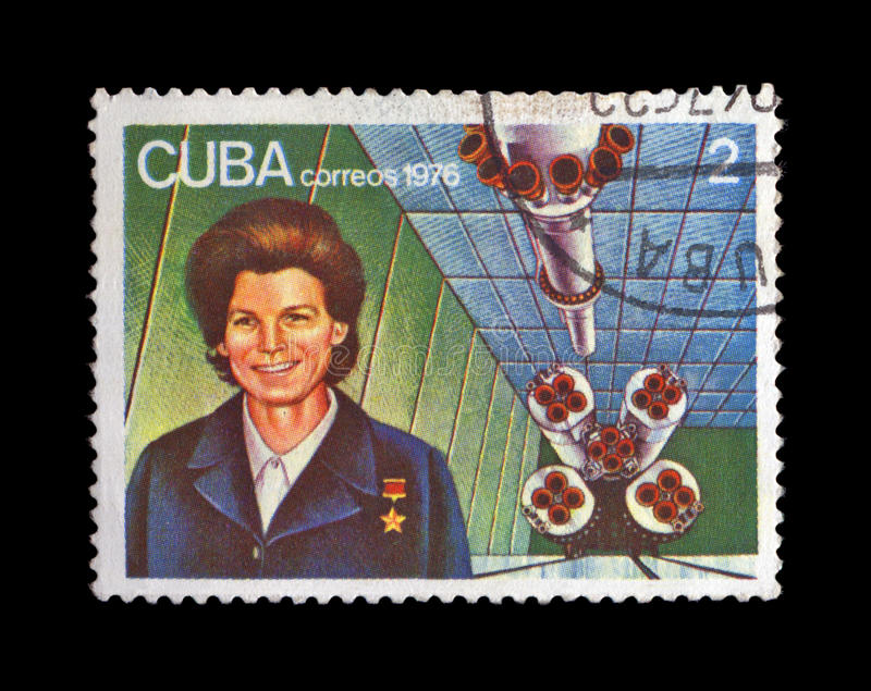 Primo Russo, astronauta sovietico Valentina Tereshkova, navetta del razzo, fotografie stock