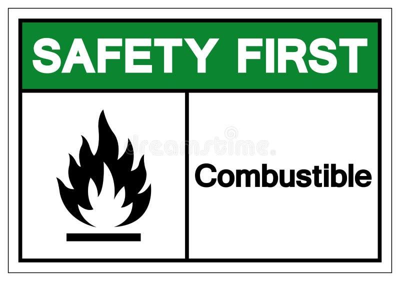 Primo segno combustibile di simbolo di sicurezza, illustrazione di vettore, isolato sull'etichetta bianca del fondo EPS10 royalty illustrazione gratis