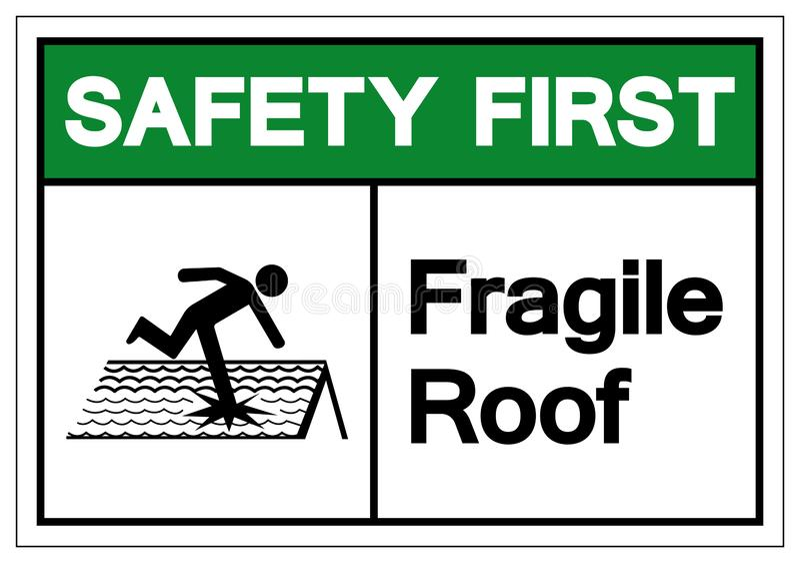 Primo segno fragile di simbolo del tetto di sicurezza, illustrazione di vettore, isolato sull'etichetta bianca del fondo EPS10 illustrazione vettoriale