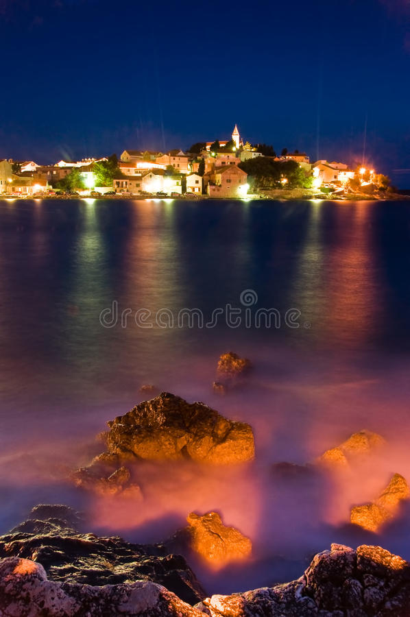Primosten by night royalty free stock image