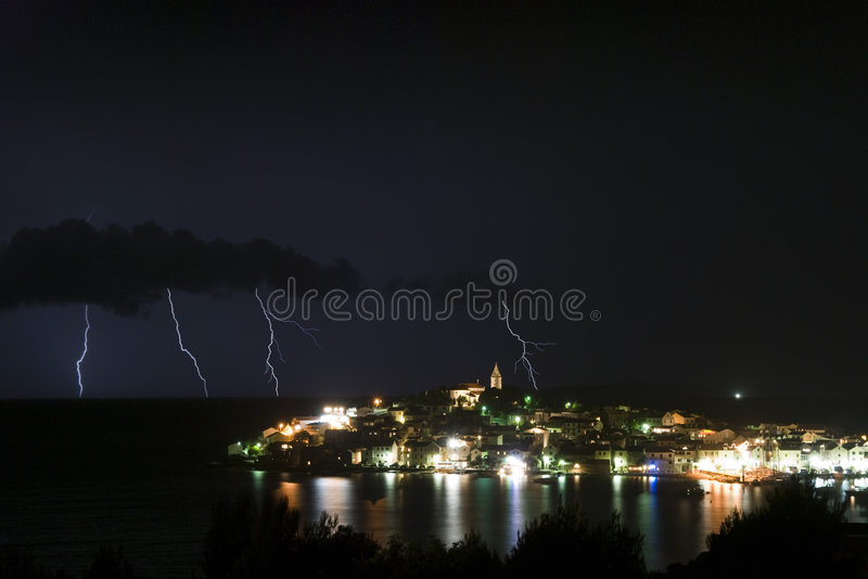 Primosten Thunderstorm. Thunder storm in Primosten with light reflection in the sea - Croazia 2007 stock photography
