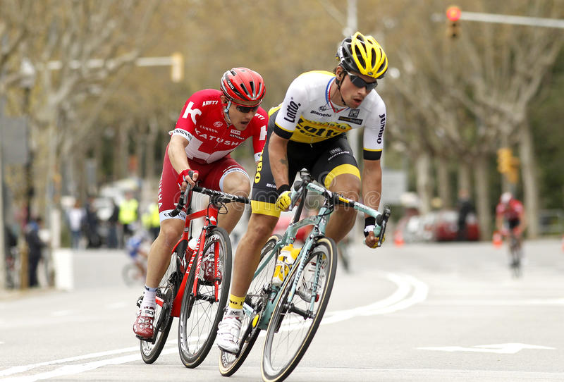 Primoz Roglic of LottoNL–Jumbo and Alexey Tsatevich of Katusha. Primoz Roglic(R) of LottoNL–Jumbo and Alexey Tsatevich(L) of Katusha during the stock photo