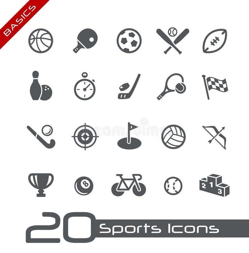 Princípios de // dos ícones dos esportes ilustração do vetor