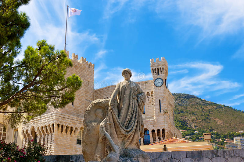 Prince's Palace in Monaco. Statue of Prince Albert outside Prince's Palace (Palais Princier). Monaco, France royalty free stock images