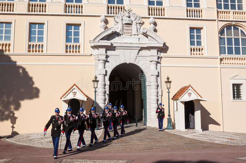 Prince's Palace of Monaco during the Changing of the Guard. The Prince's Palace of Monaco is the official residence of the Prince of Monaco royalty free stock images