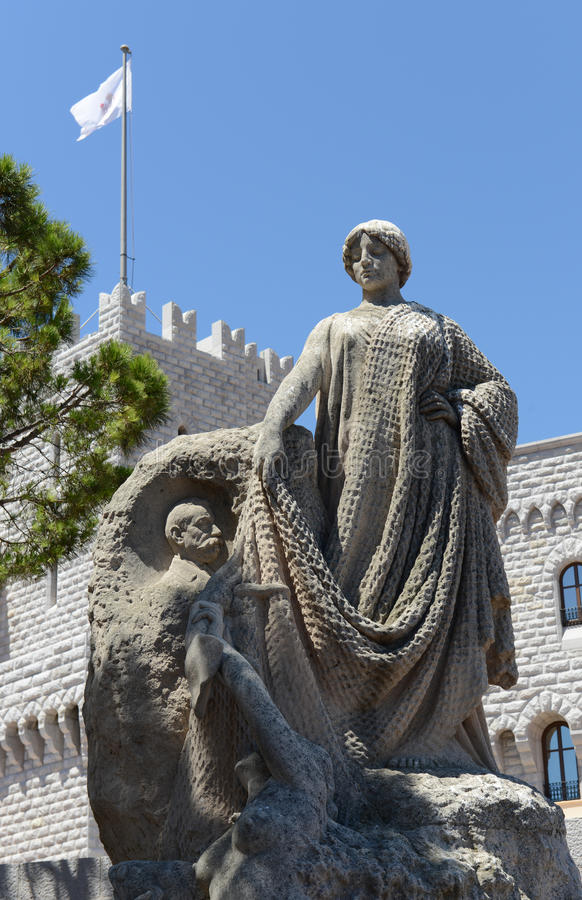 Prince Albert Statue in Monaco royalty free stock photography