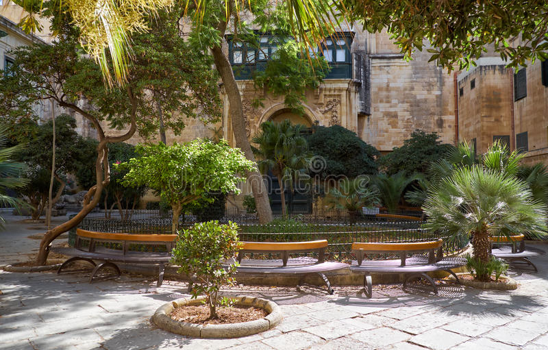 The Prince Alfred`s Courtyard of the Grandmaster`s Palace. Valle royalty free stock photography