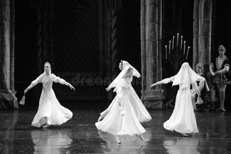 Prince blanc de jupe-Le lac swan d'acte-ballet de mitzvah-Le de barre de troisième photos libres de droits