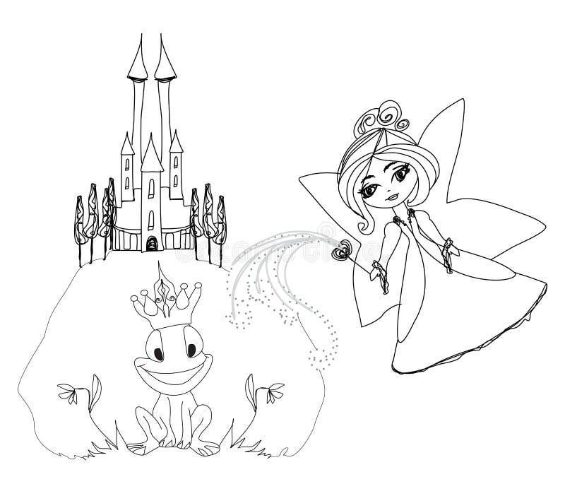 Prince Cartoon Character et belle fée de grenouille illustration libre de droits