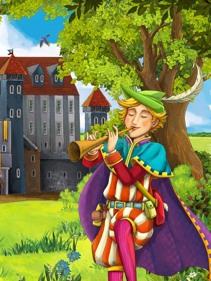 The prince- castles - knights and fairies - Manga style- illustration for the children. The happy and colorful illustration for the children vector illustration