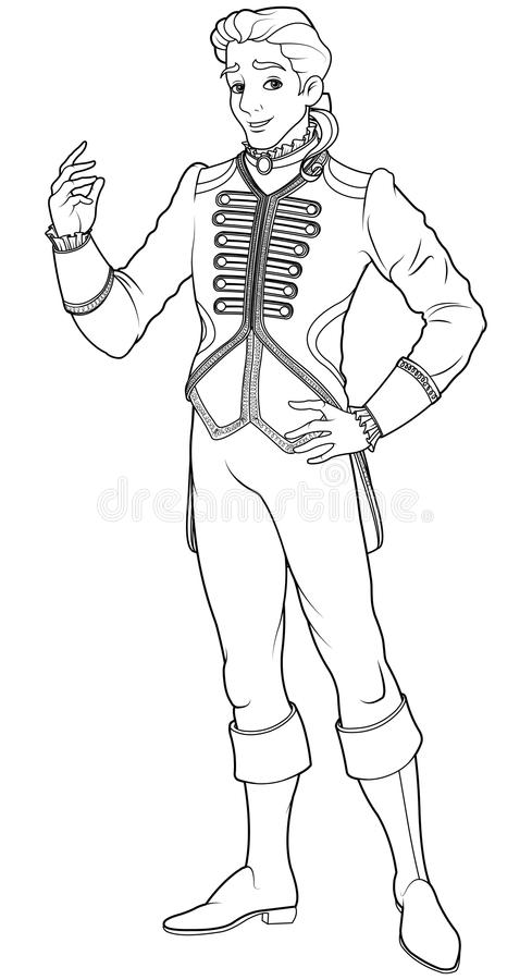 cinderella and prince charming coloring pages - prince charming coloring page stock vector illustration