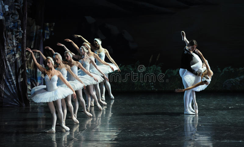 The prince decided to help Ojta-ballet Swan Lake royalty free stock photo