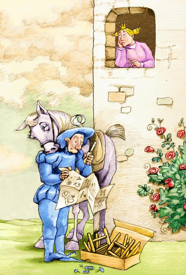 Prince DIY. Bumbling prince fails to mount a ladder to reach a princess that lift one's eyes vector illustration