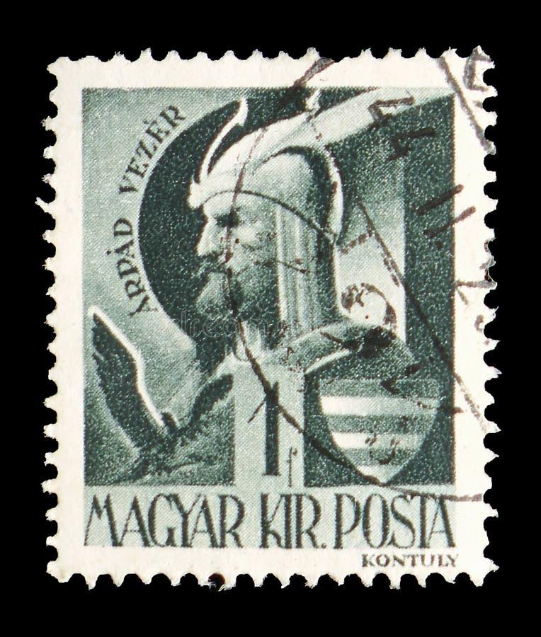 Prince dominant Arpad (c 850-907), Caractères et reliques de serie hongrois d'histoire, vers 1943 photos stock