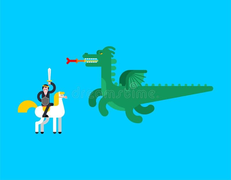 Prince and Dragon. Fairy Battle. Vector illustration vector illustration