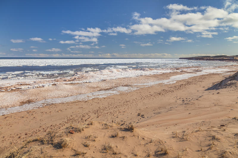 Prince Edward Island Beach. Cavendish beach on the north shore of Prince Edward Island during late winter stock photography