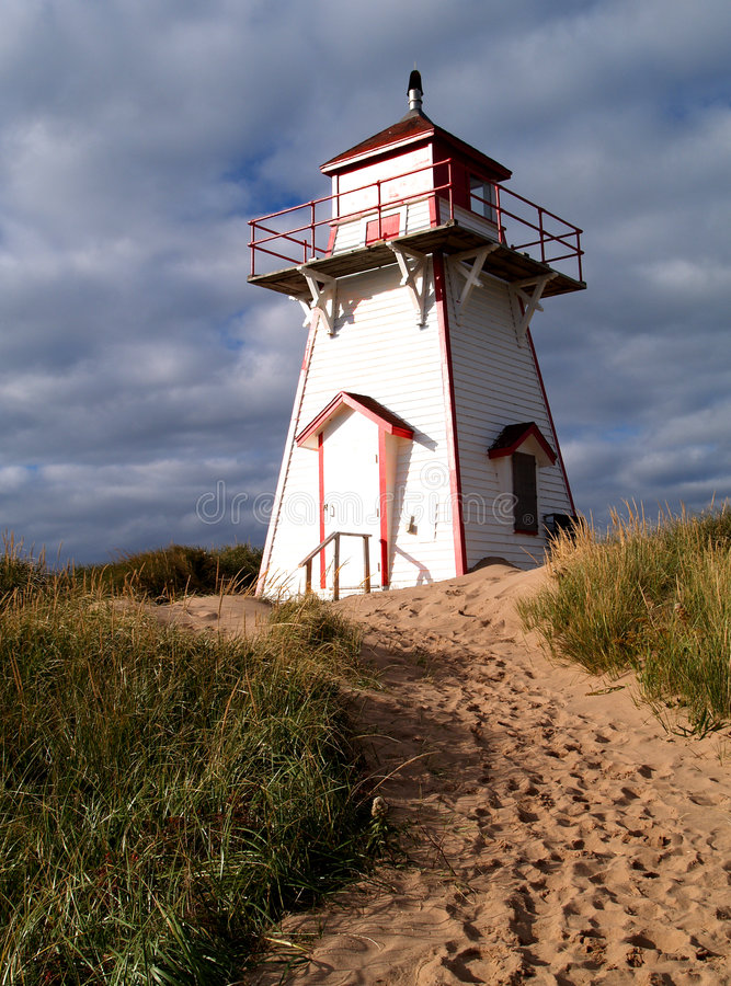 Prince Edward Island Lighthouse. Red and white lighthouse on Prince Edward Island, Canada royalty free stock image