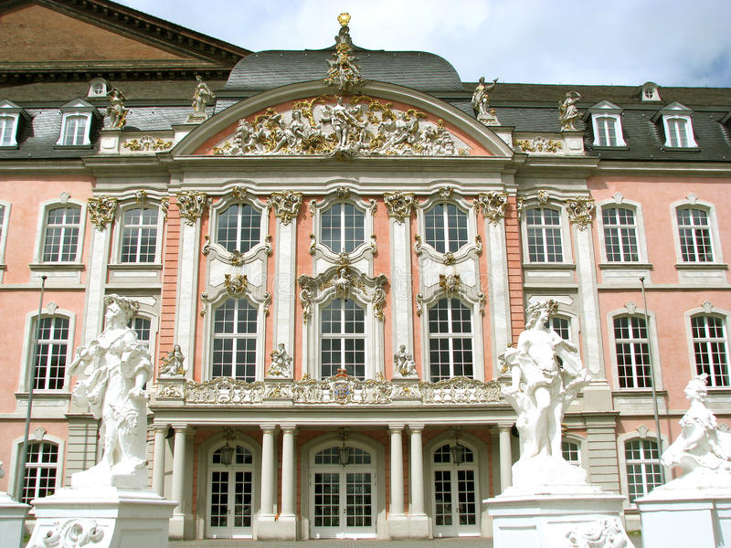 Prince-Elector's Palace at Trier, Germany. The Prince-Elector's Palace at Trier, Germany (1615–1676, renovated in 1756) in front of the reconstructed Aula stock photography