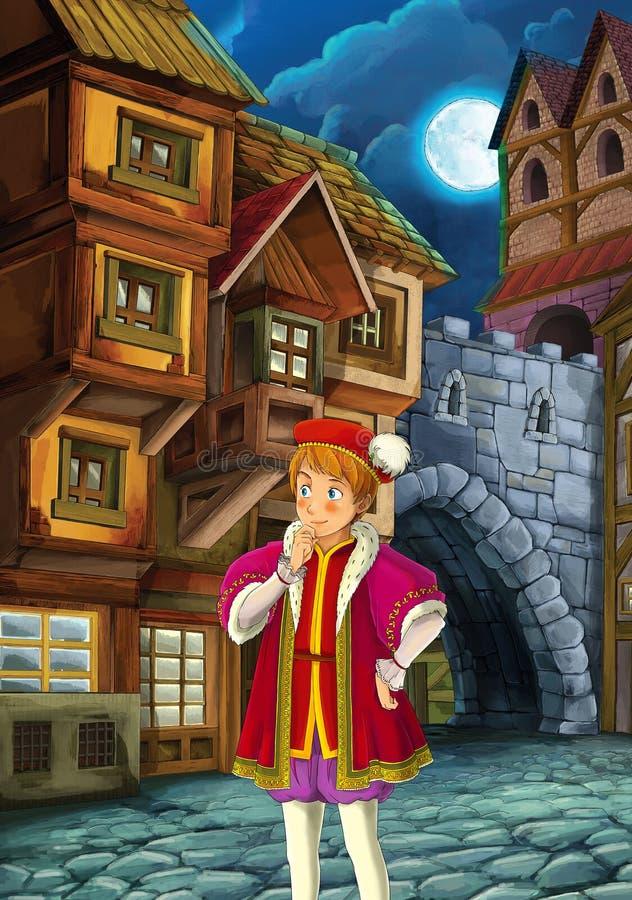 Prince et l'indigent - le prince ou la princesse se retranche - chevaliers et fées - illustration pour les enfants illustration stock