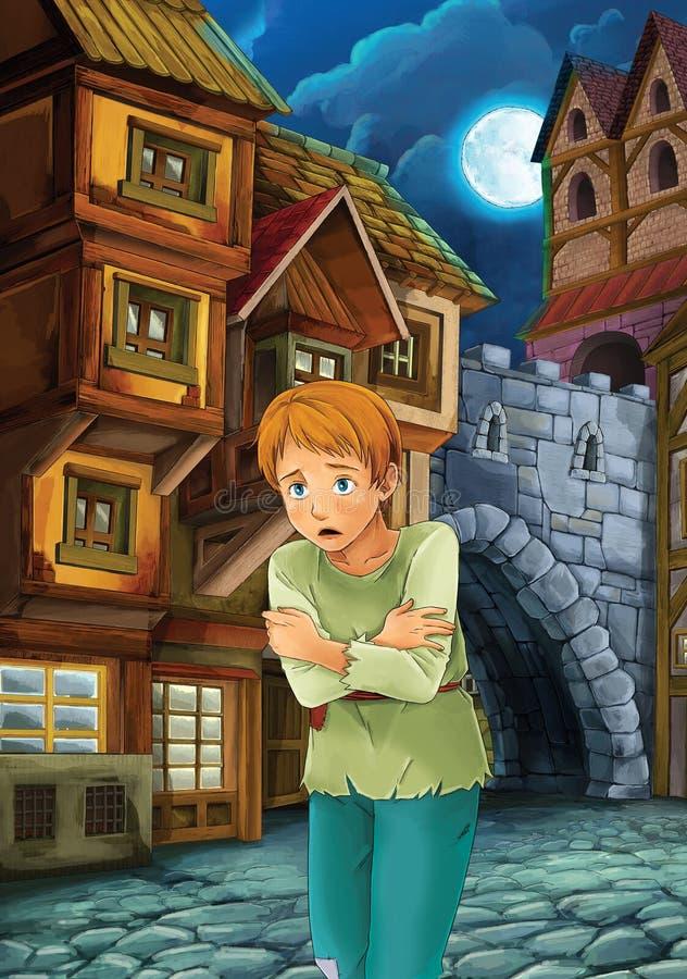 Prince et l'indigent - le prince ou la princesse se retranche - chevaliers et fées - illustration pour les enfants illustration libre de droits