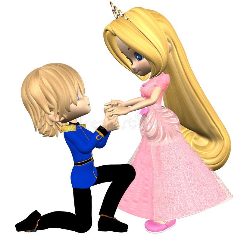 Prince et princesse mignons de conte de fées de Toon illustration stock