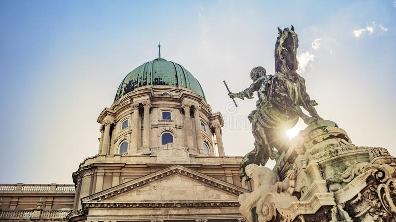 Prince Eugene of Savoy`s Equestrian Statue at Buda Castle in Budapest, Hungary. The Prince Eugene of Savoy`s Equestrian Statue at Buda Castle in Budapest stock photo
