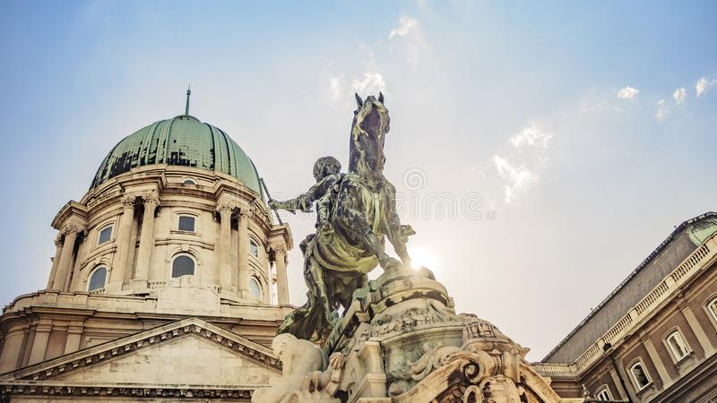 Prince Eugene of Savoy`s Equestrian Statue at Buda Castle in Budapest, Hungary. The Prince Eugene of Savoy`s Equestrian Statue at Buda Castle in Budapest stock images