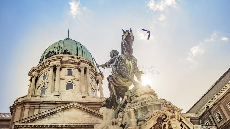 Prince Eugene of Savoy`s Equestrian Statue at Buda Castle in Budapest, Hungary. The Prince Eugene of Savoy`s Equestrian Statue at Buda Castle in Budapest stock photos