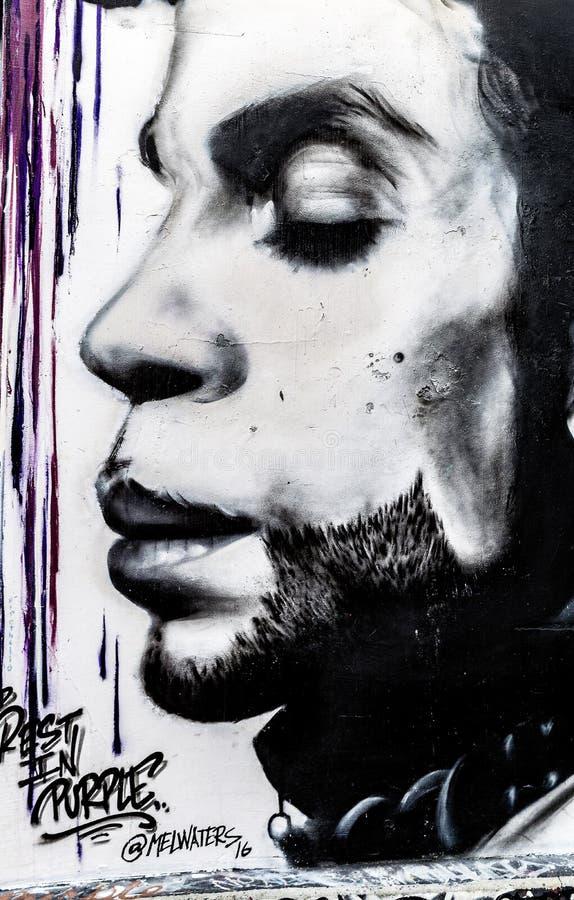 Prince Grafitti Art in San Francisco, California stock images
