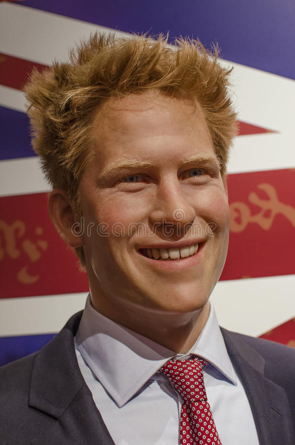 Prince harry. In the famous wax museum Madame tussauds london, england royalty free stock photos