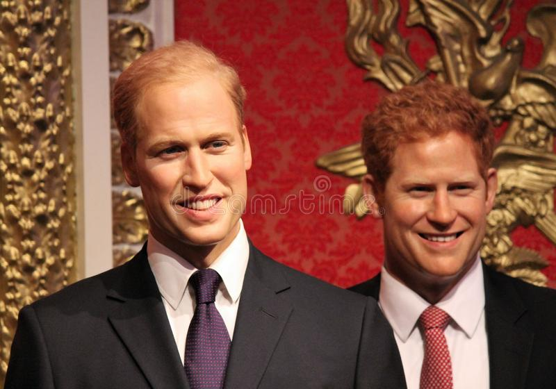 Prince harry & William, London, UK - March 20, 2017: Prince Harry and prince william portrait wax figure at Madame Tussauds London. Prince Harry & Prince william royalty free stock photography