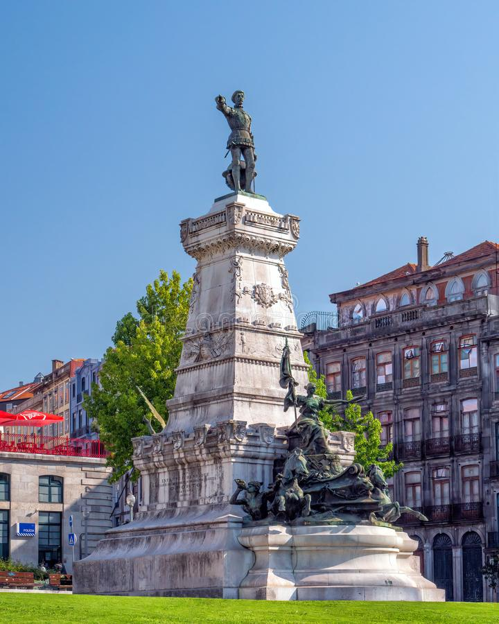 Prince Henry the Navigator Statue, Porto, Portugal. The statue of Prince Henry the Navigator - estatua Infante D. Henrique. The square that bears his name lies royalty free stock photo