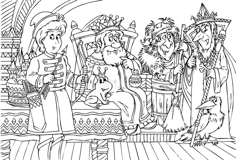 Prince and King. Black-and-white illustration (coloring page): young prince and old king in a palace stock illustration